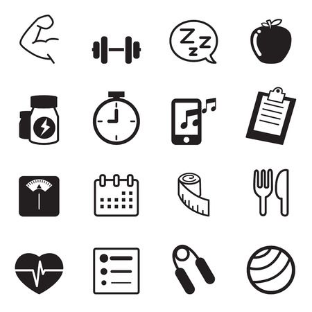 dieting: Fitness and dieting icons set Illustration