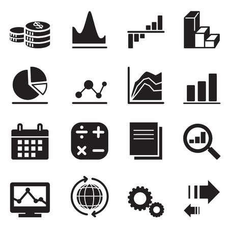 flow diagram: Silhoutte diagram and graph icons Illustration