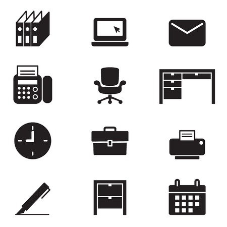 office tools: Silhouette office tools and stationery icons set