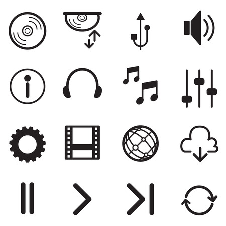 multimedia icons: Media Player Icons Set. Multimedia. Isolated. Vector Illustration