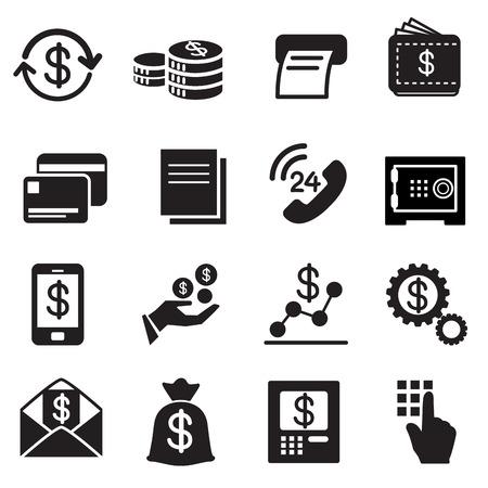 Bedrijfsleven, Financiën, Investment iconen Set Vector Illustratie