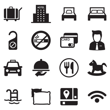 icons for hostels and hotels set silhouette