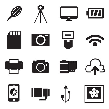 telephoto: Camera Icons and Camera Accessories Icons vector illustration
