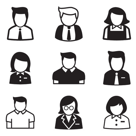 user,account, staff, employee maid icons vector illustration Symbol Vettoriali