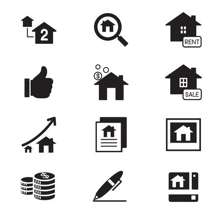 Silhouette Immobilien Symbole Illustration Symbol Vektor
