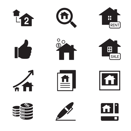 second hand: silhouette Real estate icons Illustration symbol Vector Illustration