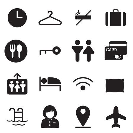 air port: silhouette Hotel, hostel, motel icons Illustration vector Symbol