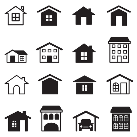 condominium: Home, condominium, Tower, Apartment  icons set