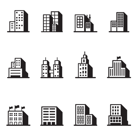 residential zone: Building silhouette icons Vector illustration symbol set