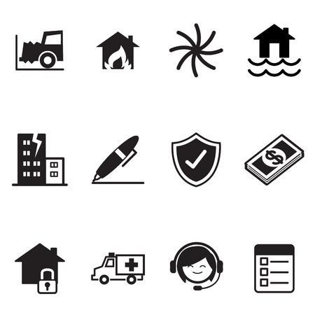 broken contract: Insurance Icons Vector Illustration Symbol Set