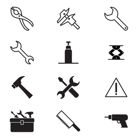 screw jack: Construction tool icon collection Vector illustration Symbol 2 Illustration