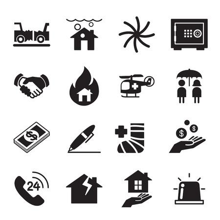 broken contract: Insurance Icons Vector Illustration Set