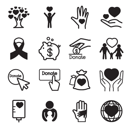 giving: Donation  giving icons Set