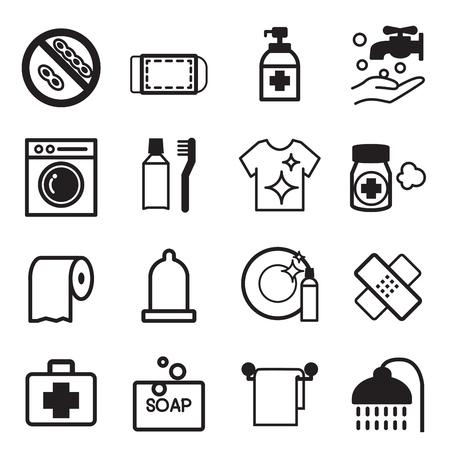 medical shower: Hygiene icons set
