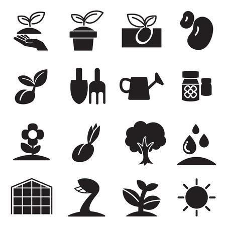 cultivate  Plant Grow icons set Çizim