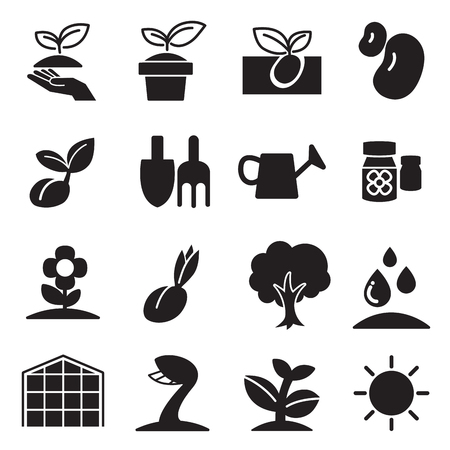 cultivate  Plant Grow icons set Illustration