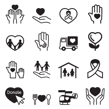 symbol hand: Charity-Icons Set