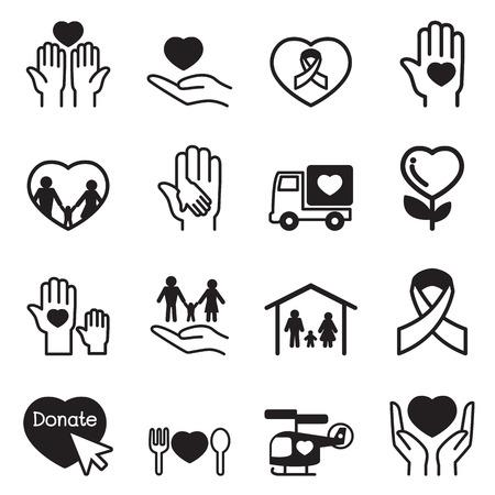 icônes de charité Set