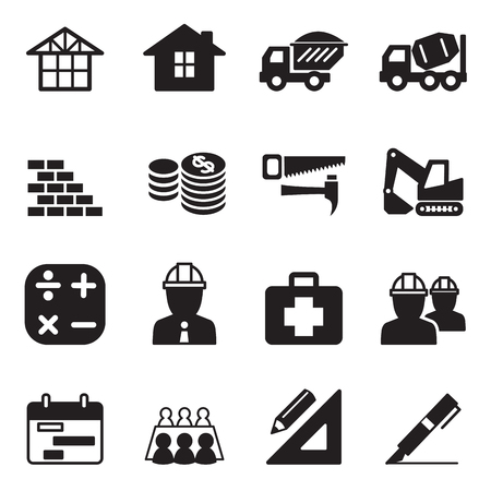 skid steer: silhouette Construction icon Set
