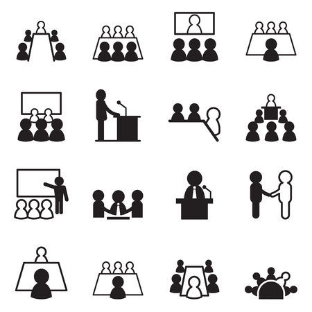 meeting room: conference icon set