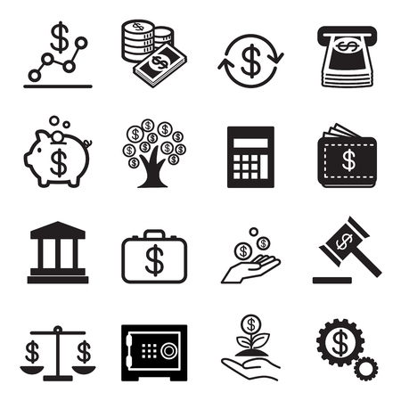 Business and finance icons Set Çizim