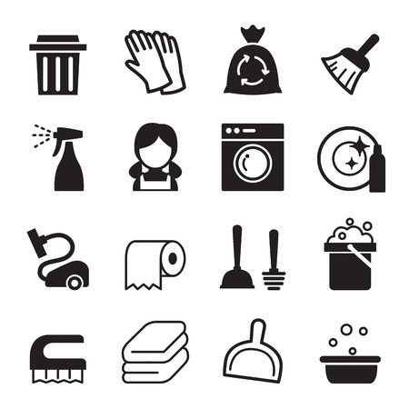 garbage bag: Cleaning icon set