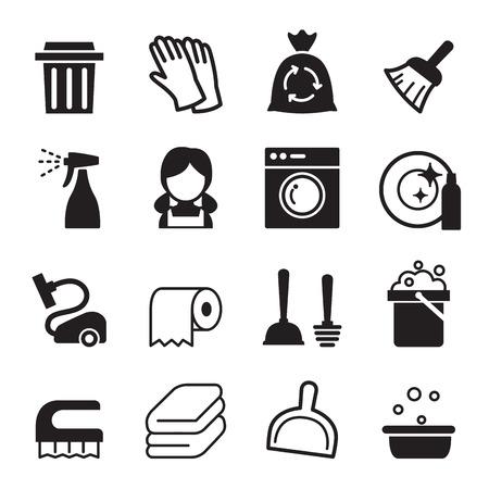 Nettoyage, icône, ensemble Banque d'images - 52042618