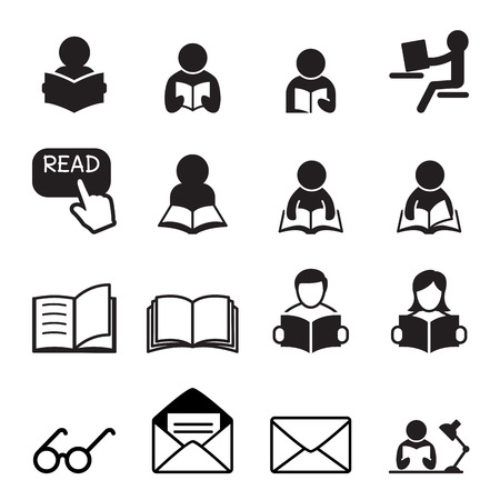 reading a book: Reading icon Illustration