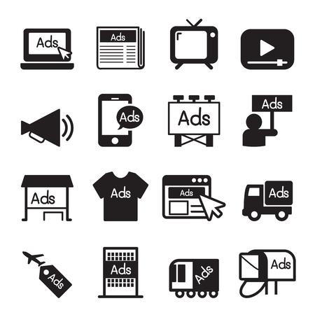 Pubblicità set di icone Vettoriali