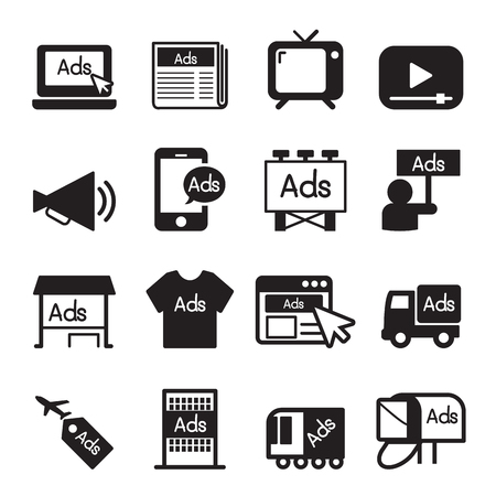 Publicidad conjunto de iconos Ilustración de vector