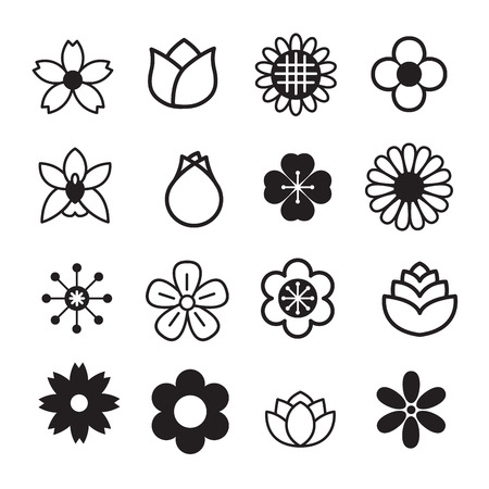 black: Flower icons