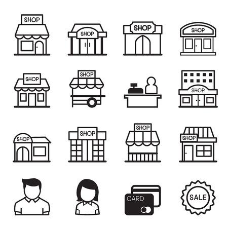 Tienda icono edificio conjunto