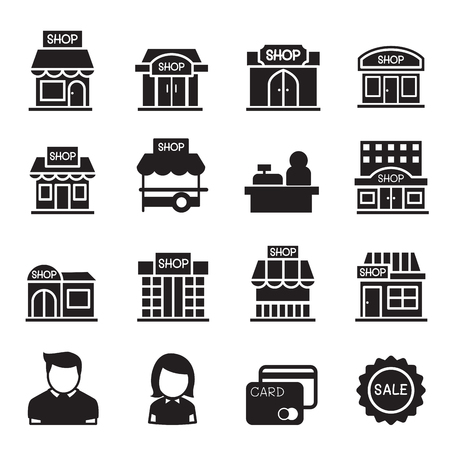 store keeper: silhouette Shop building icon set Illustration