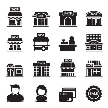 silhouette Shop building icon set Illustration