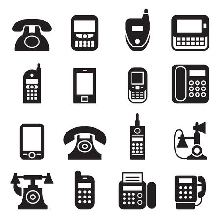 communication, call, phone vintage, retro telephone Vector Illustration Set Vektoros illusztráció