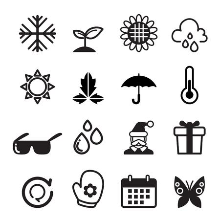 four elements: Temporada conjunto de iconos Vectores