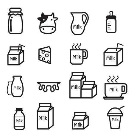 leche y derivados: Conjunto de iconos de la leche
