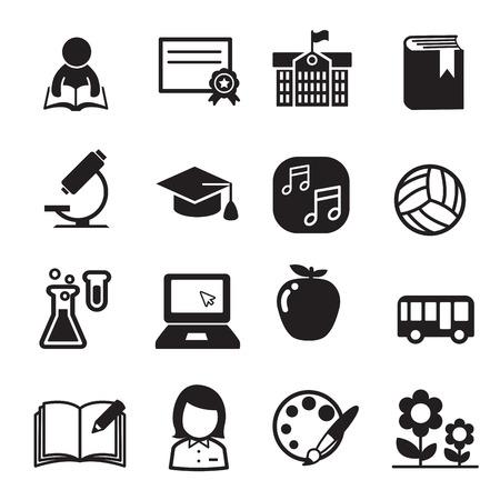 silueta niño: conjunto de icono de la escuela básica Vectores