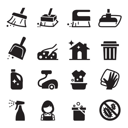 scrubbing up: Cleaning icon set