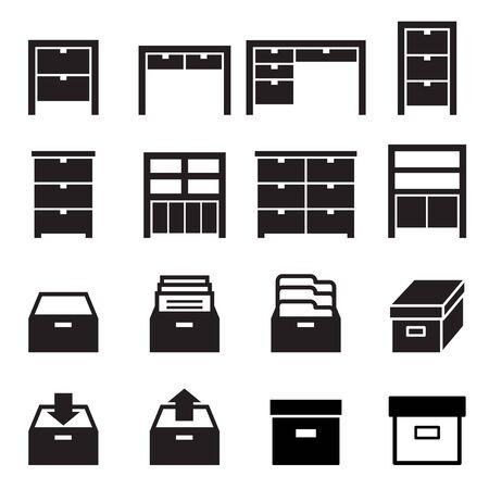 Cabinet icône de stockage ensemble