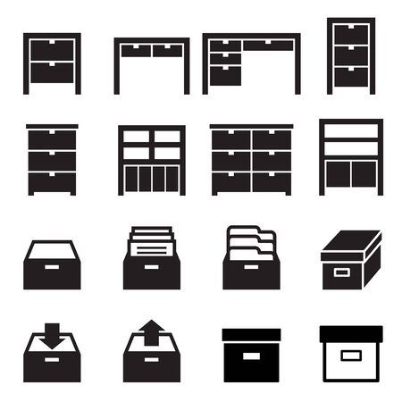 Cabinet storage icon set