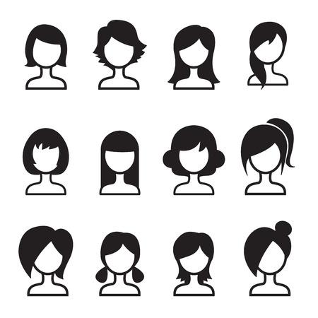 textura pelo: Mujer del estilo de pelo icono Conjunto Vectores