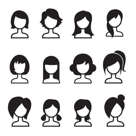 female hair: Woman hair style icon Set
