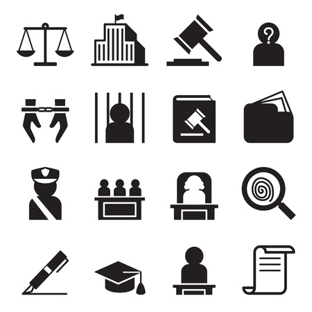 handcuffed: Law icon set