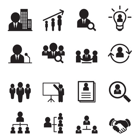 Gestion des ressources humaines, icône, ensemble Vecteurs