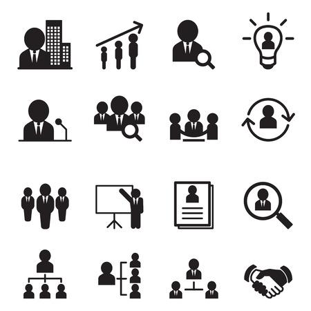 Zestaw ikon zarządzania zasobami ludzkimi Ilustracje wektorowe
