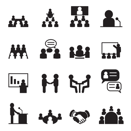 teacher and students: Conference icon set Illustration