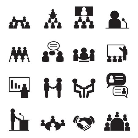 educadores: Conjunto de iconos de Conferencia Vectores