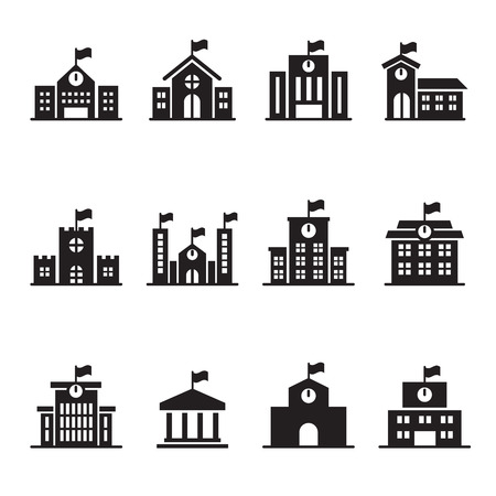 school icon: School building icons set