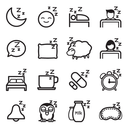 sleeping pills: Sleep  icon Symbol illustration Set